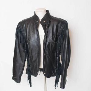 Harley Davidson Leather Jacket Fringe Vintage USA
